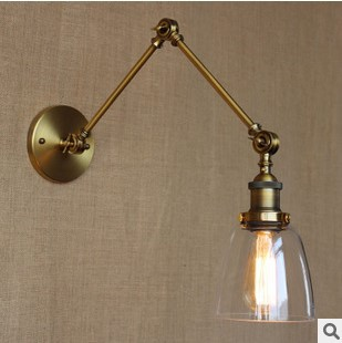 IWHD Glass RH Style Loft Vintage Wall Lamp LED Long Arm Industrial Edison Wall Sconce Lampara Pared iwhd black antique loft industrial vintage wall light led edison style swing long arm wall lamp sconce luminaire lampara pared