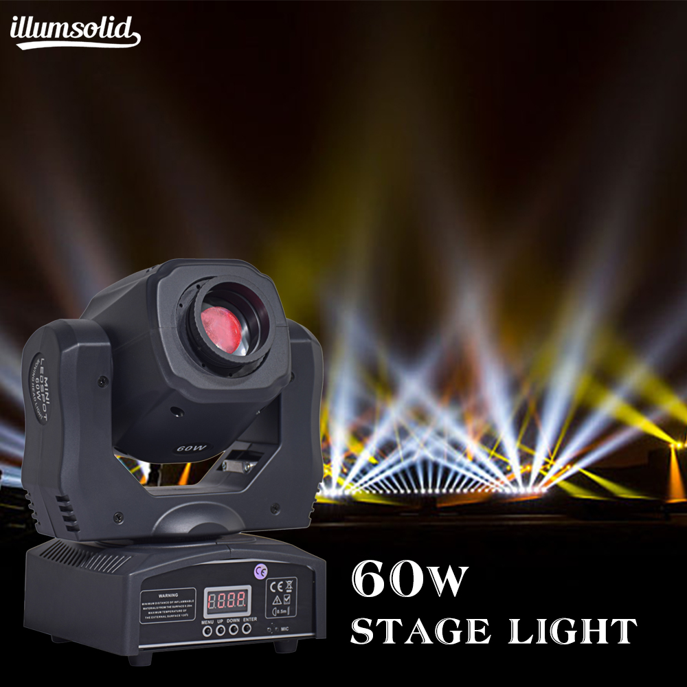 (1 pièces/lot) mobile 60 w LED tête mobile gobo lumière LED dmx 512 contrôle mini dj diso têtes mobiles 60 w