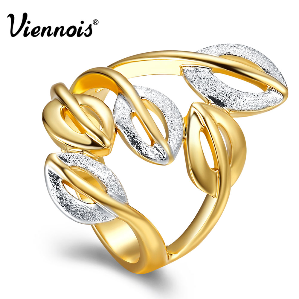 все цены на Viennois Gold/Silver Color Cocktail Party Wide Rings for Woman Double Colors Leaf Hollow Out Female Size Rings Jewelry