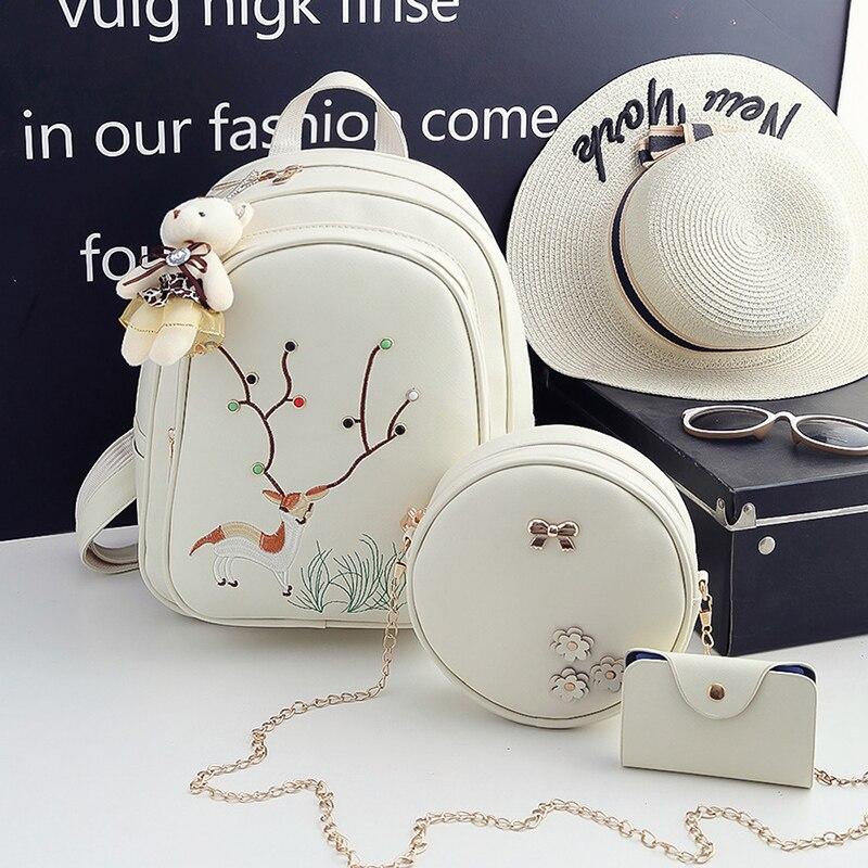 3pc/Set Women Backpack Female High Quality Pu Leather School Bags Teenage Girls 2017 Fashion Deer Travel Backpacks Set-3637