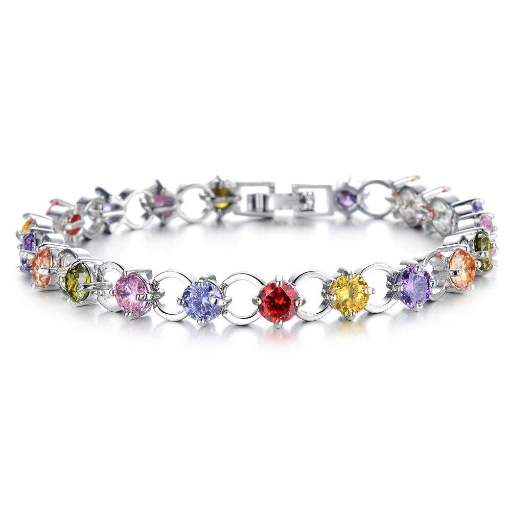 Multicolor/White Rhinestone Women Bracelets - White Gold Color Link Chain