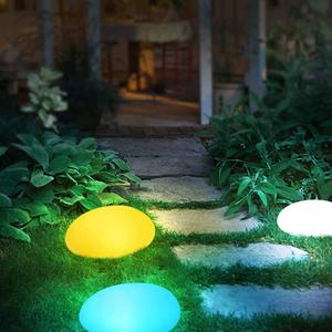Image 3 - Solar Lights Outdoor, Glow Cobble Stone Shape Solar Garden Light Waterproof Color Changing Landscape Lights with Remote Control