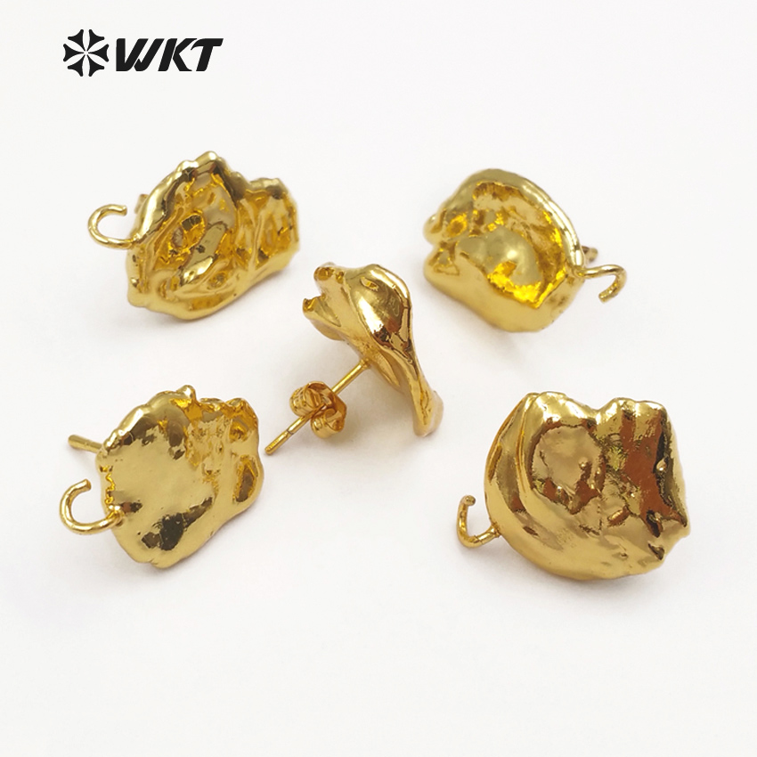 JF299 WKT Random Size Natural Freshwater Pearl With Full Gold Dipped Earring Findings For Women Fashion