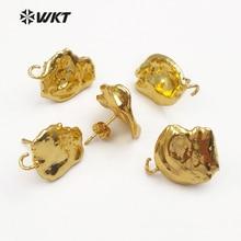 JF299 WKT losowy rozmiar naturalna perła słodkowodna z pełnym złoty kolczyk ustalenia dla modne kolczyki damskie projekt ustalenia