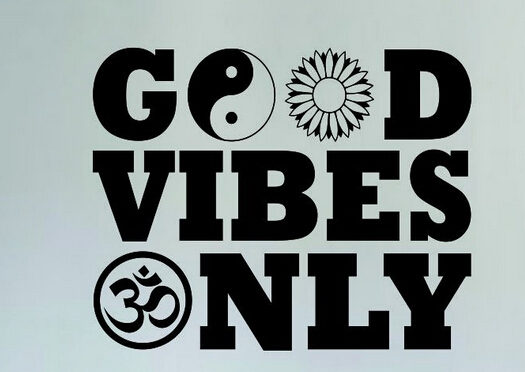 Yoga Vinyl Wall Decal Good Vibes Only Yin Yang Flower