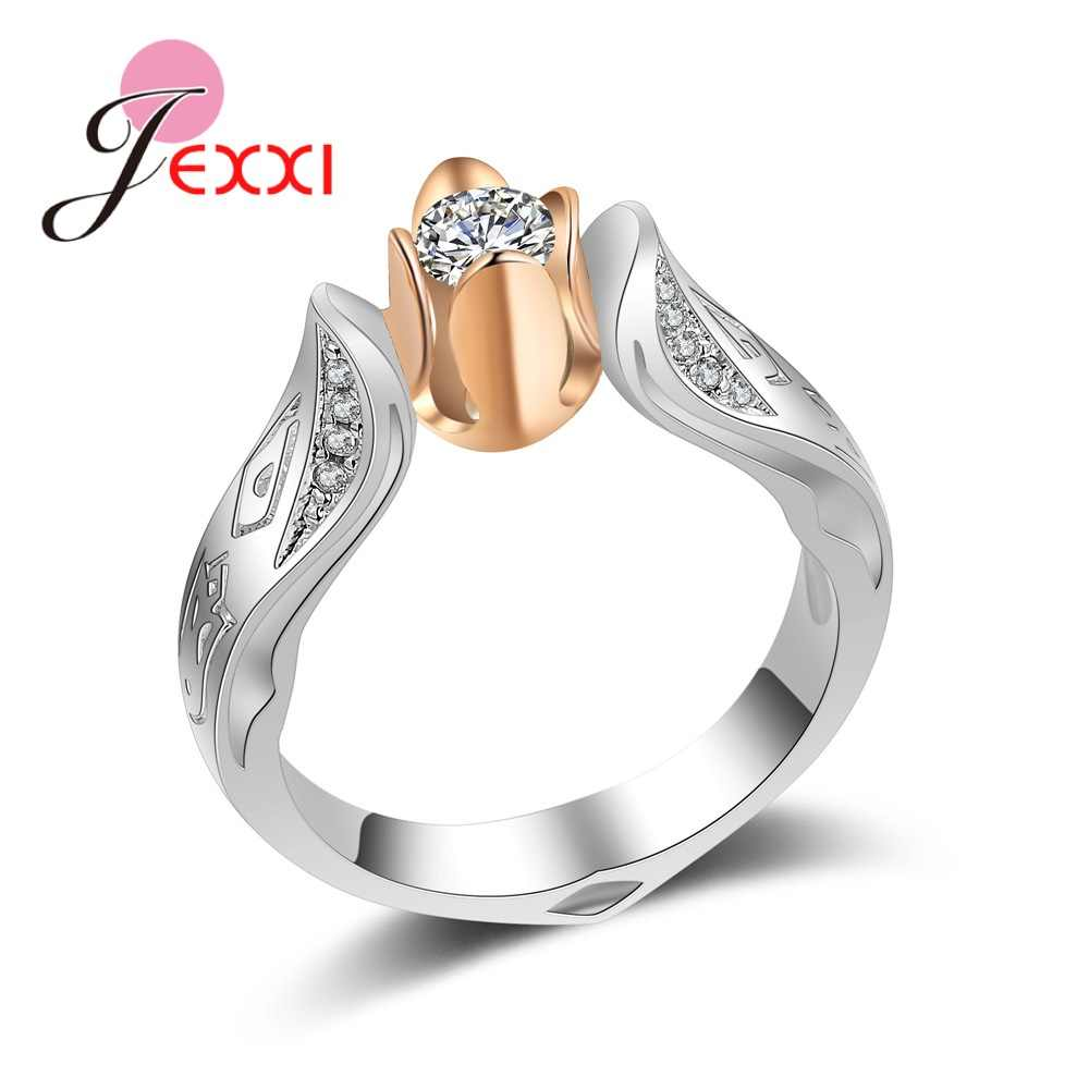 Hot 925 Sterling Silver Exquisite Flowers Women Fashion Wedding & Engagement Ring Made With Cubic Zirconia Jewelry