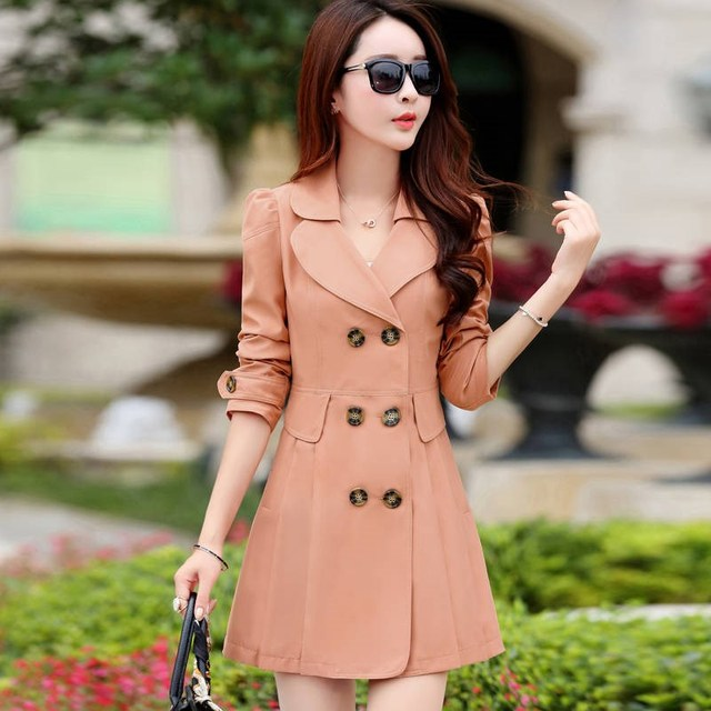 FTLZZ New Women's Trench Coat Spring Autumn Black Green Slim Double Breasted Windbreaker Outerwear Female Casual Trench Coat 4