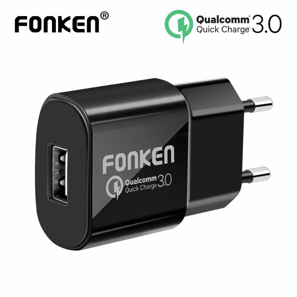 FONKEN USB Chargeur Charge Rapide 3.0 Rapide Chargeur QC3.0 QC2.0 18 W Mur USB Adaptateur pour la Banque D'alimentation Portable Mobile Téléphone chargeur