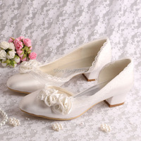15 Colors Custom Handmade Ivory Flower Bridal Wedding Shoes Low Chunky Heel Size 6 Free