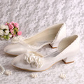 Custom Handmade Ivory Flower Bridal Wedding Shoes Low Chunky Heel Size 6