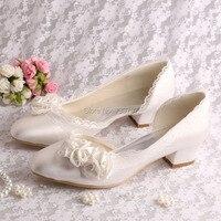 Tuỳ chỉnh Handmade Ngà Flower Bridal giày cưới thấp chunky Heel Kích thước 6