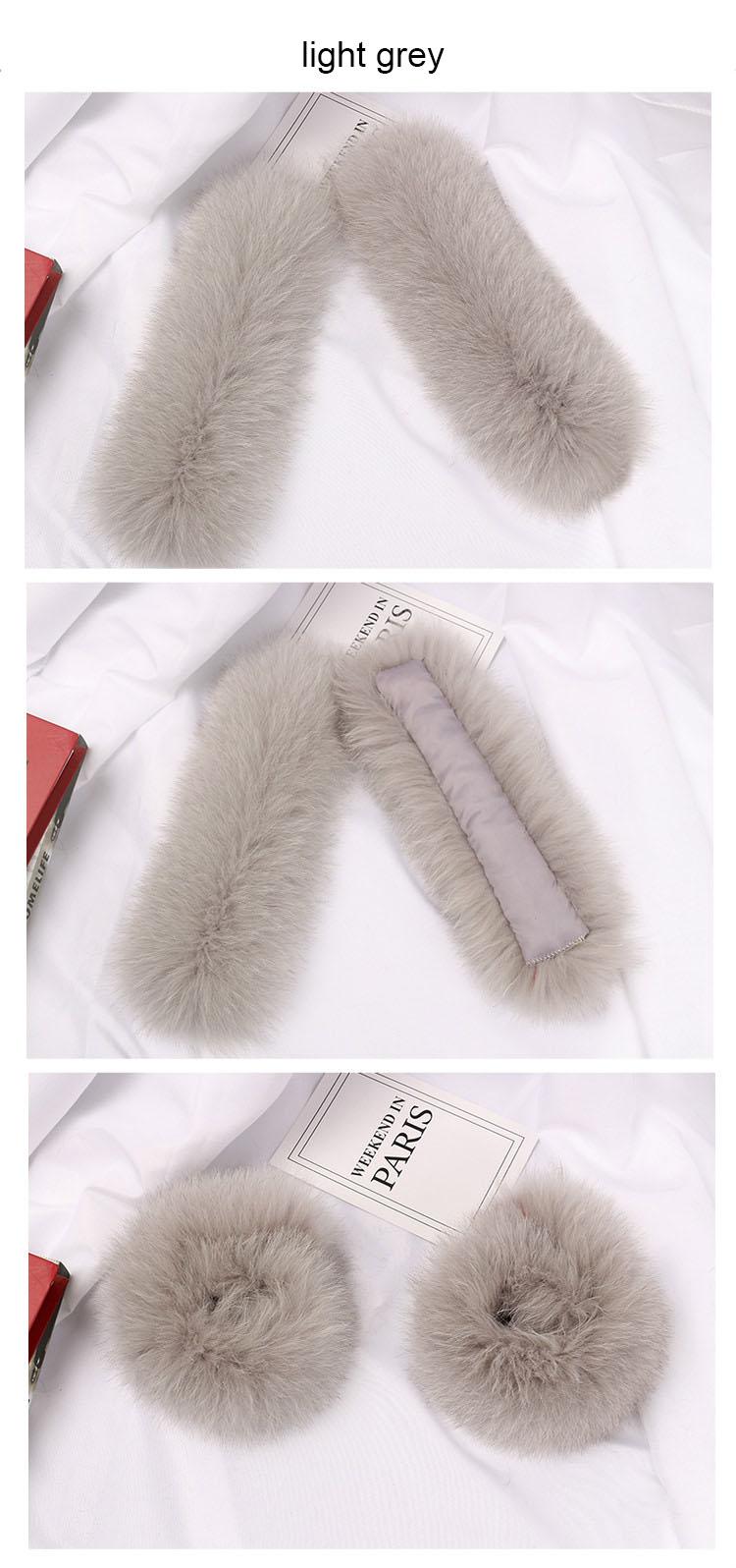 fox fur slap cuffs color light grey