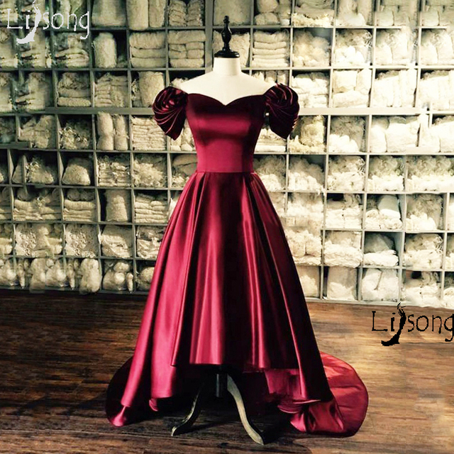 NEW Burgundy Vintage Evening Dress Ball Gowns High Low Custom Made ...