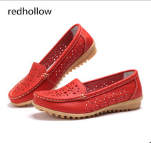 Women Ballet Flats Shoes Leather Slip On Ladies Shallow Moccasins Hollow Out Casual Shoes Female Summer Loafer Drive Shoes Women artmu 2017 retro hollow out women shoes handmade slip on woman loafer shoes non slip female shoe genuine leather soft bottom