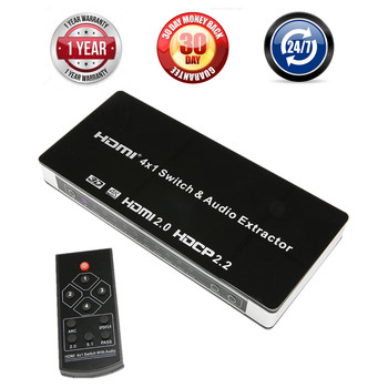 UHD 4K 4 Input 1 Output HDMI 2.0 Switch Box 4x1 HDMI Switcher Audio Extractor With ARC & IR Control For PS3 PS4 Apple TV HDTV