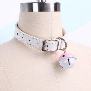 Image 3 - Sexy słodkie Choker smycz łańcuch różowy czarny Harajuku ręcznie Gothic Punk naszyjnik ze skóry z dzwoneczkami Sex zabawki dla pary kołnierz