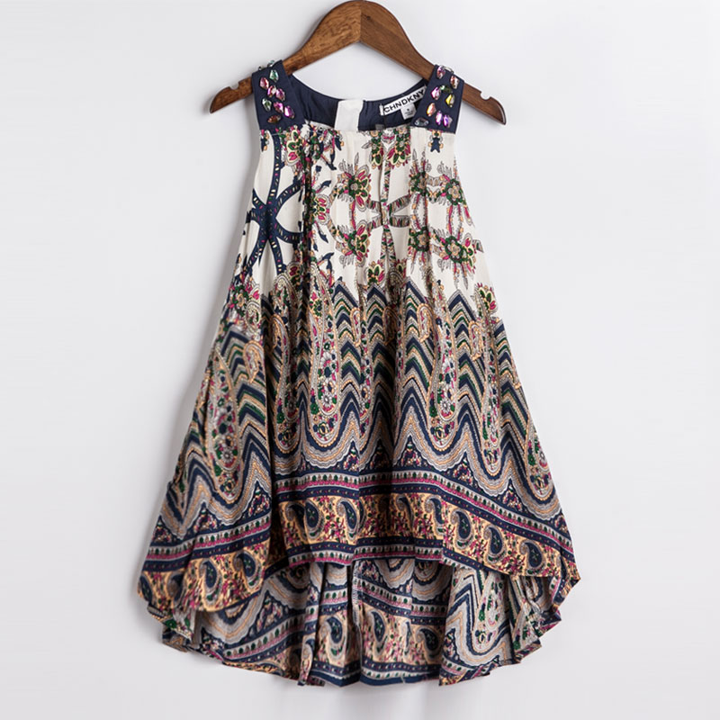 Girls Summer Dress Bohemian Style Print Beach Dress Baby Girls Princess Dress Kids Dresses For Girls