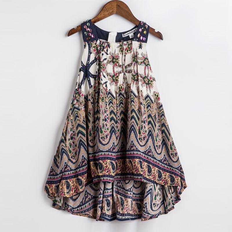 Girls Summer Dress Bohemian Style Printing Beach Dress Baby Girls Princess Dress Kids Dresses For Girls Children Summer Clothes