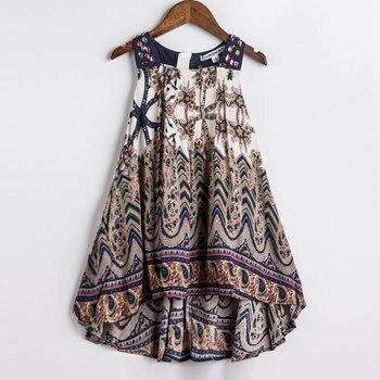 Girls Summer Dress Bohemian Style Print Beach Dress Baby Girls Princess Dress Kids Dresses For Girls Children Summer Clothes