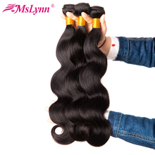 Mslynn Hair Peruvian Body Wave Bundles 100% Human Hair Bundles Natural Black 1 Pc Non Remy Hair Extensions Can Buy 3 Or 4 Pieces