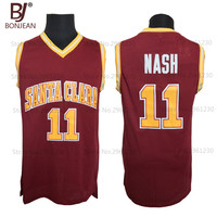Wholesale Cheap College Basketball Jerseys 11 Steve Nash Jersey Santa Clara Throwback Stitched Burgundy Red Mens