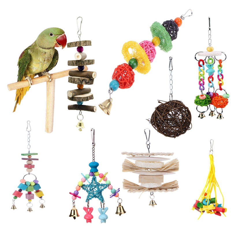 Parrot Toys Pet Bird Bites Climb Chew Toy Hanging Cockatiel Parakeet Climb Chewing Cage With Bell Bird Toys 12 Styles