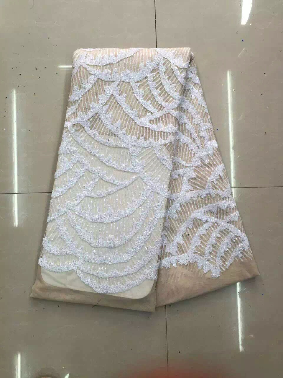 Royal Blue French African Lace Fabric Guipure Sequined Beaded Cotton Cord Tulle Nigerian Tissu Mesh India Lace For Wedding Dress