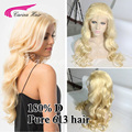 8A Grade 180% Density Peruvian virgin hair Front lace wig Pure Blonde full lace human hair wigs 613 Glueless Wigs With Baby Hair