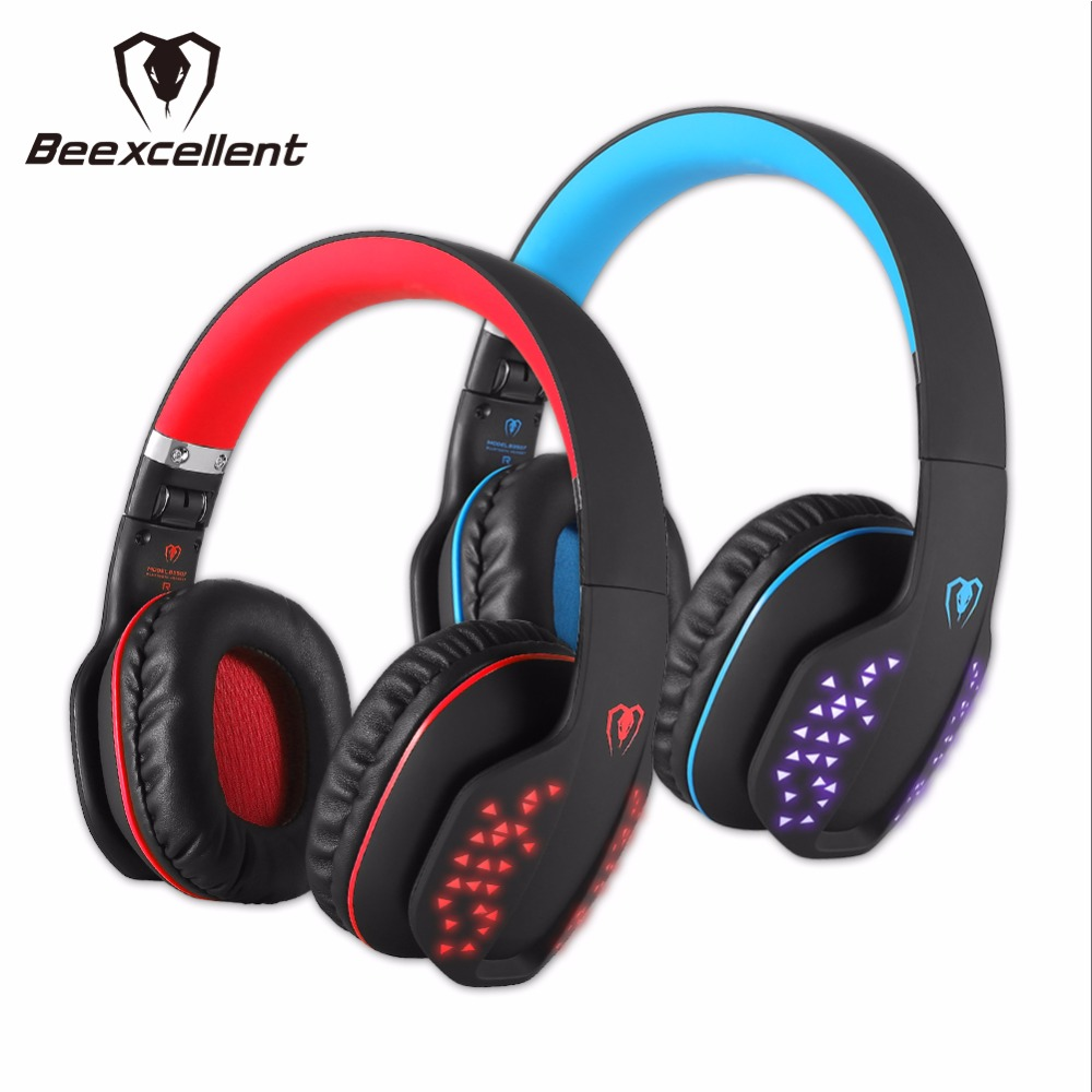 Beexcellent Q2 Wireless Bluetooth Gaming Headset with Mic led light Gaming Headphone for PC Tablet Smartphone Laptop pk g2200 g1100 3 5mm pro gaming headset headphone for ps4 laptop crack pattern led led blue black red white