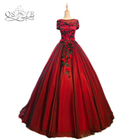 2017 New Arrival Burgundy Long Prom Dresses Robe De Soiree Sexy Boat Neck 3D Floral Flower