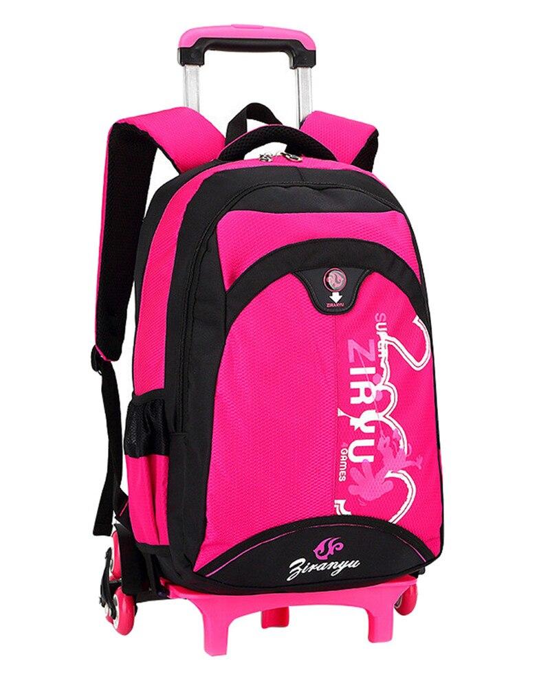 a7e1e1a81c659 حار للماء الفتيان حقيبة مدرسية بجرار الكلاسيكية السفر الأمتعة حقيبة على  عجلات الاطفال المتداول الظهر فتاة كتاب أكياس قابل للفصل