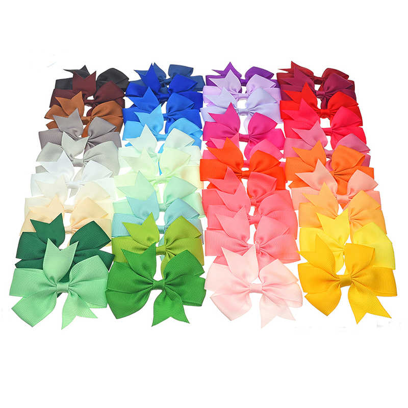 40pcs/lot 3.3inch Solid Colorful Bow Tie Hairpins Children Girls Headwear Ribbon Bowknot Hair Clip Hair Accessories A068-12
