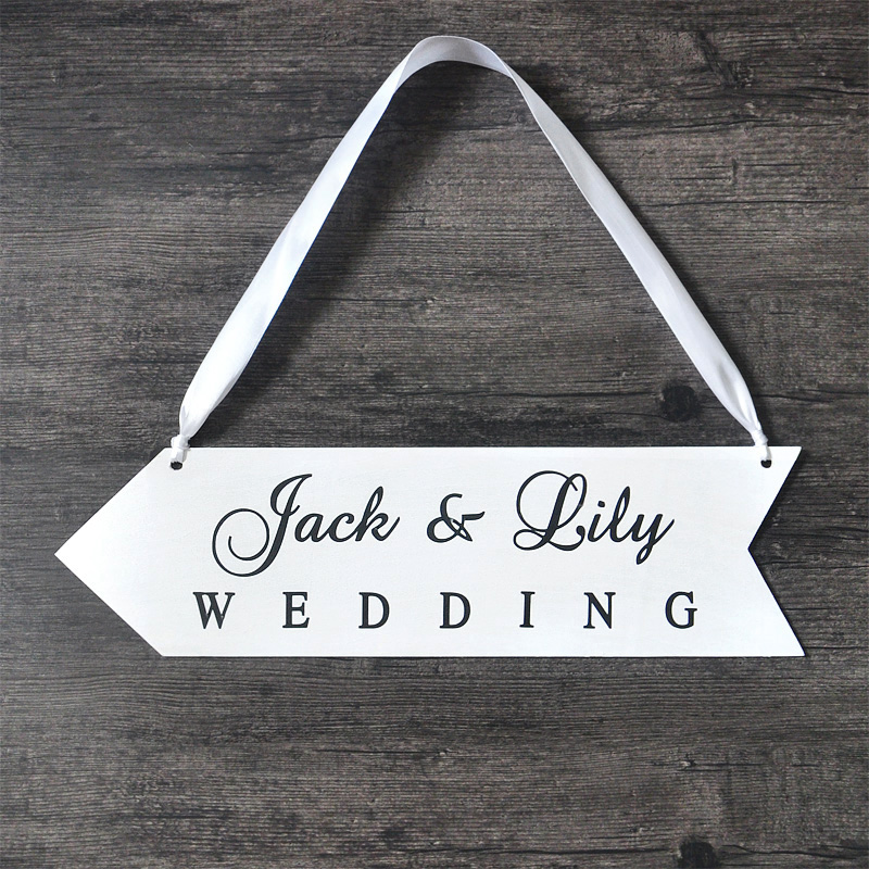 Personalized Names Wood Board Wedding Sign Wood Wedding Directional ...