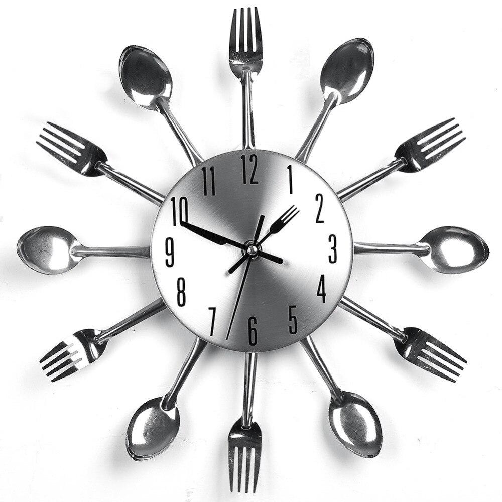 modern design wall clocks sliver cutlery kitchen utensil wall clock spoon fork clock home decor in wall clocks from home u0026 garden on