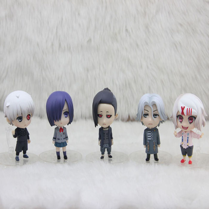 Tokyo Ghoul Cosplay 2nd Generation Kaneki Ken Toka Kirishima Q Version Boxed Small GK Garage Kit Action Figures Model 5Pcs/Set kuroko s basketball cosplay kagami taiga aomine daiki q version 9cm 3 5 boxed pvc gk garage kits action figures toys 5pcs set