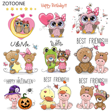 ZOTOONE Pink Cute Stripes Iron on Transfer Patches on Clothing Diy Patch Heat Transfer for Clothes Decoration Sticker for Kids G цена