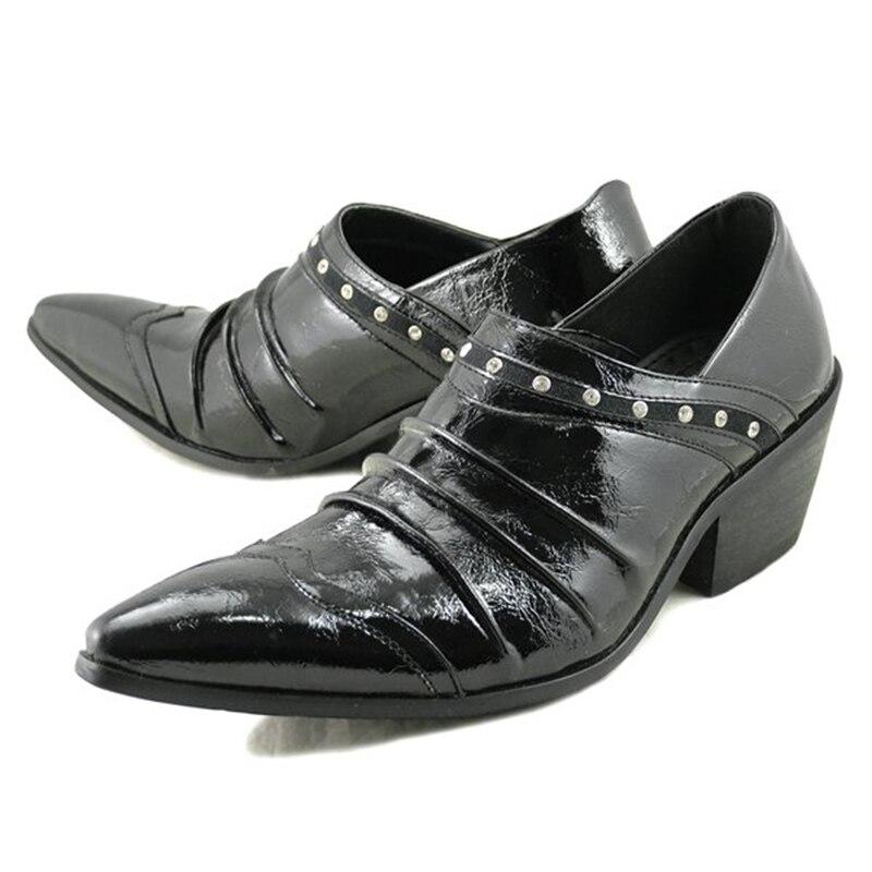 Batzuzhi 6.5cm High Heel Men Shoes Pointed Toe Black Leather Dress Shoes Slip on Zapatos Hombre Formal Shoes Men Business