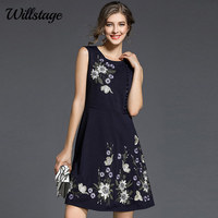 Willstage 2018 Summer Dress Sleeveless Floral Printed Elegant A Line Dresses Women Beading High Quality Party
