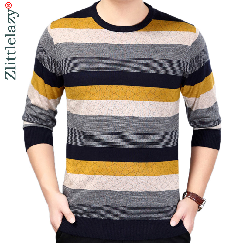 2019 Brand Korean Style Thin Striped Pull Sweater Men Wear Jersey Dress Luxury Pullover Mens Sweaters Male Spring Fashions 24008
