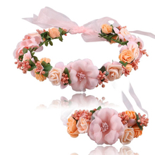 Zebery Wedding Wreath Crown Headband Wrist Flower Set Ribbons Bridesmaid Headwear Bohemia Bridal Headdress Party Hair Prop P0.00