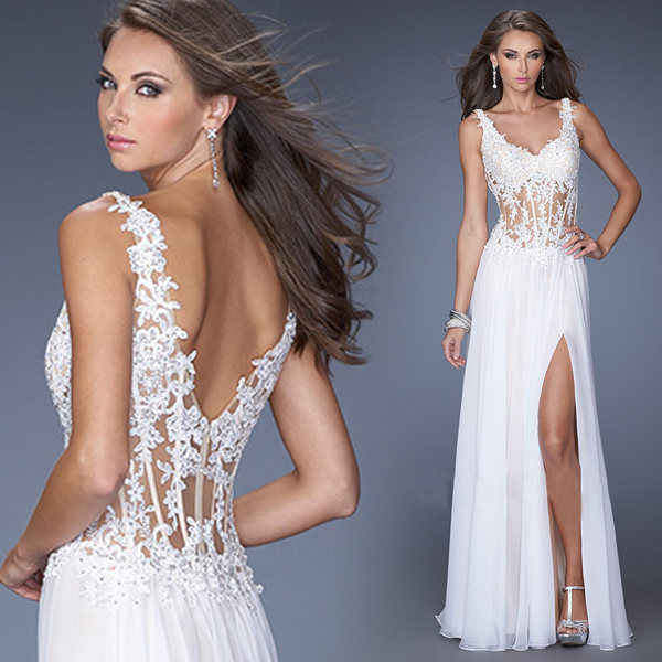 sexy backless v neck lace appliques white chiffon long robe de soiree vestido longo 2019 prom Formal gown bridesmaid dresses in Bridesmaid Dresses from Weddings Events
