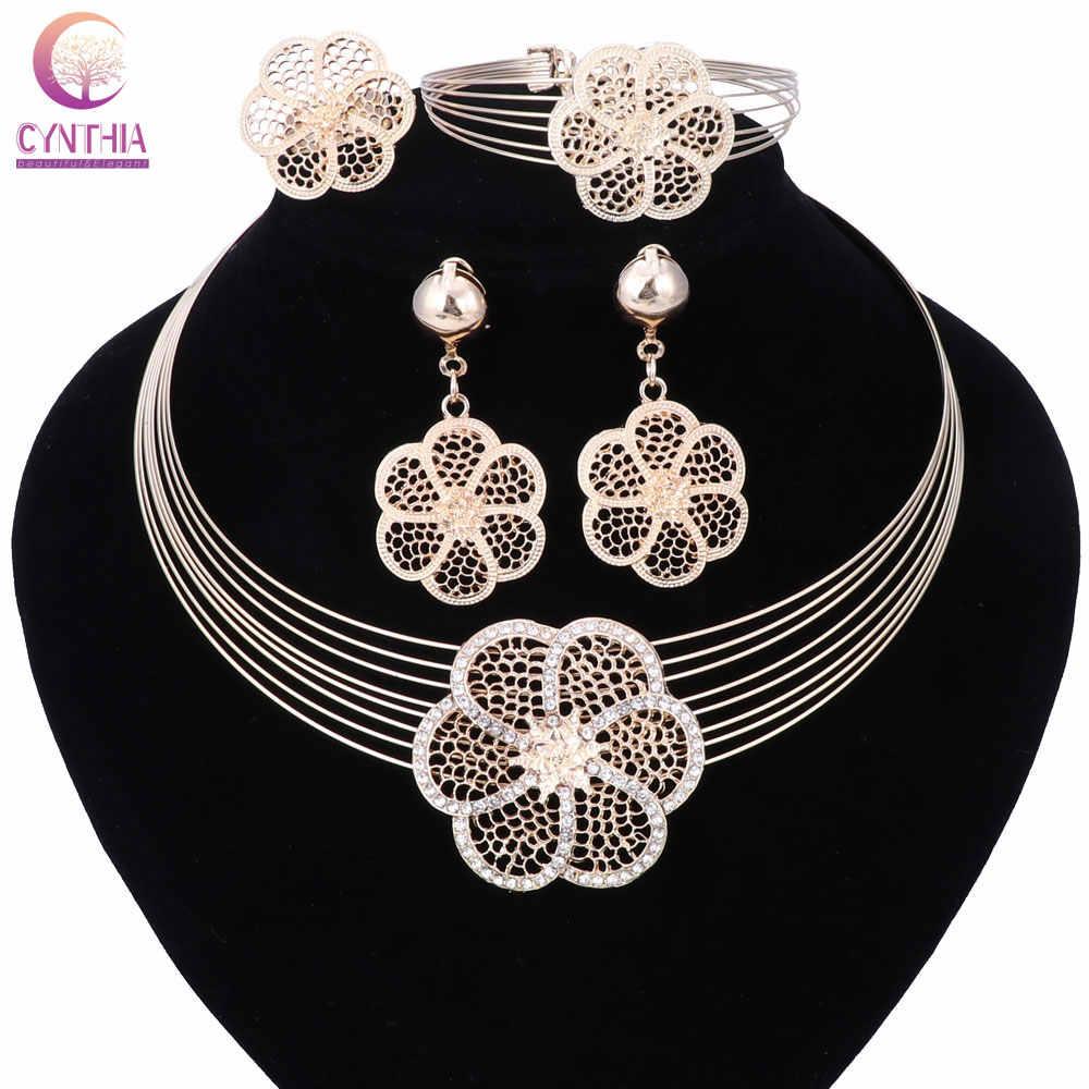 Grosir Trendi Elemen Bubuk Perak Perhiasan Set Kalung Gelang Anting-Anting dan Cincin Pernikahan Gaun Aksesoris Kostum Perhiasan Set
