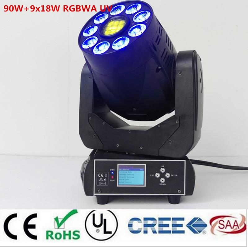 Vente chaude 90 w A MENÉ LA Tache de gobo + 9x18 w RGBWA + UV 6in1 lavage Tête Mobile lumière/USA Luminums 90 w LED DJ dmx Lumière De Tache 2 pcs/lot