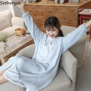 Image 2 - Ночные рубашки женские длинные Kawaii корейский стиль свободные толстые теплые мягкие однотонные кружевные повседневные студенческие пижамы повседневные женские ночные рубашки