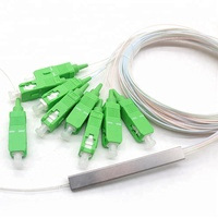 10pcs/lot Steel Tube Fiber Optic PLC Splitter 1x8 SC/APC Mini Blockless 1*8 SC APC Connector