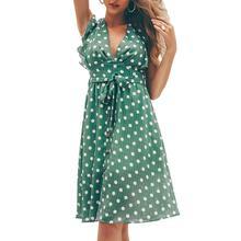 Yfashion Sweet Polka Dot Chiffon Dress Women Sexy V Collar Flouncing Ruffles Beach Dresses Fashion Mini Female