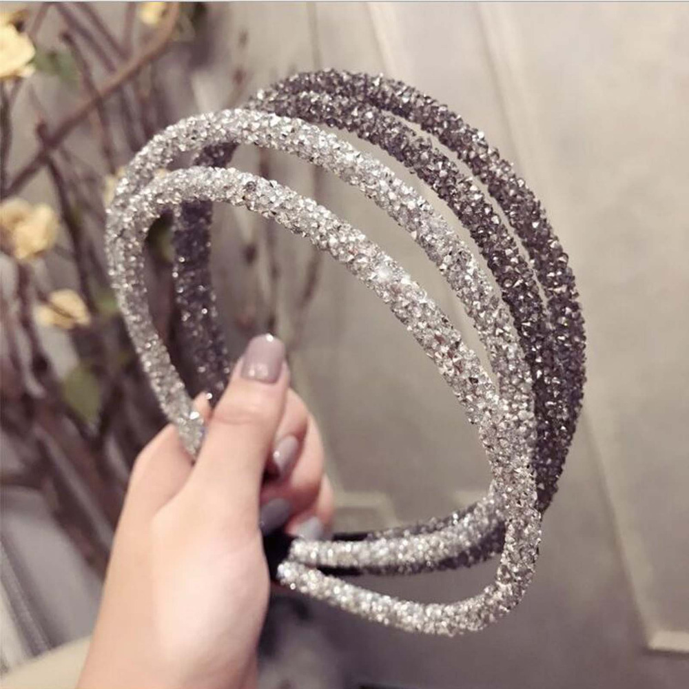 2019 Fashion Rhinestone Hairband Women Full Diamond Super Flash Double Crystal Side Hair Band Headband Hair Accessories