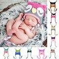 Nueva Lindo Bebé Sombrero Del Invierno Del Ganchillo Hecho A Mano de Encargo de Punto Infantil Del Niño Del Bebé Búho Sombrero Recién Nacido apoyo de La Fotografía