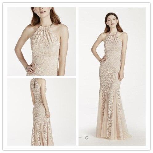 vestidos de festa champagne lace fit and flare vestido halter con