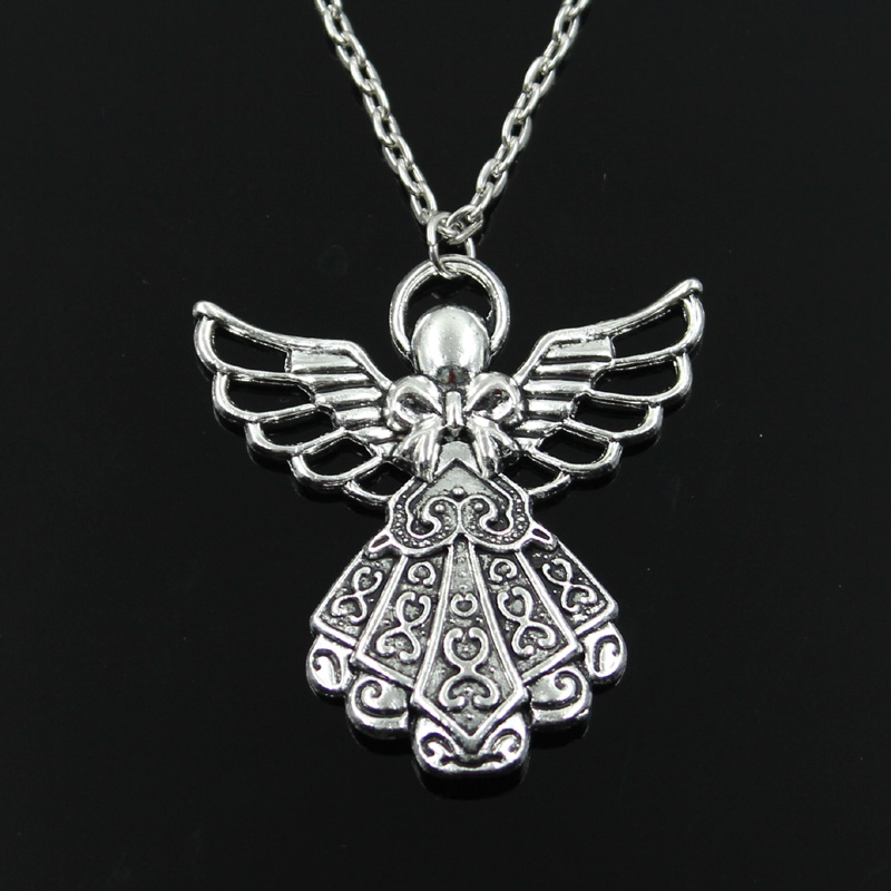 """GUARDIAN ANGEL/_Small Bronze Pendant on 18/"""" Chain Necklace/_Christmas Fairy Wings"""